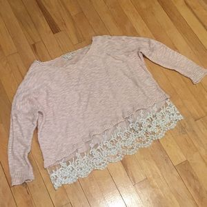 Pink Lace Trimmed Crop Sweater